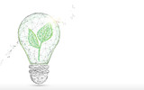 Light Bulb with green plant form lines, triangles and particle style design. Illustration vector - 225168255