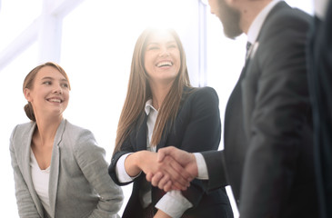 side view.handshake business people