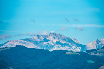The top of the iconic Santis peak, view from the shores of the Zurich Lake (Obersee), Sankt Gallen, Switzerland