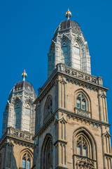 The twin towers of the Grossmunster (great minster), a symbol of the city of Zurich.