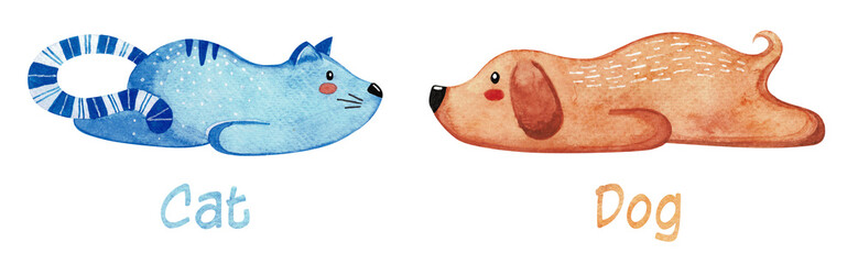 Set of cute animals. Lazy cat and dog. Watercolor. © arkadiwna