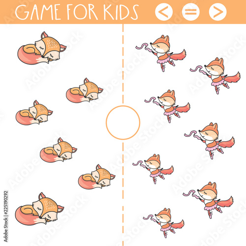 Education logic game for preschool kids.Hand drawn cute fox