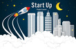 Rocket launch and building skyscraper on the clouds and dark sky in the night as paper art, craft style and business Startup project concept. flat design vector illustration. - 225190897