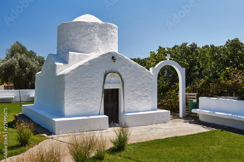A stone Orthodox chapel on the island of Rhodes in Greece. - 225195675