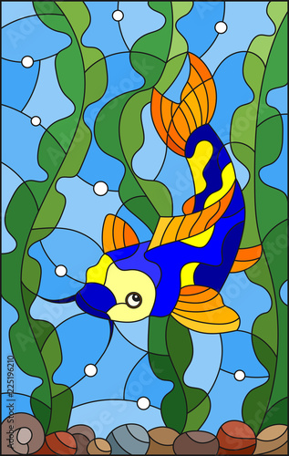 illustration-in-stained-glass-style-with-bright-spotted-fish-on-the-background-of-water-algae-and-air-bubbles