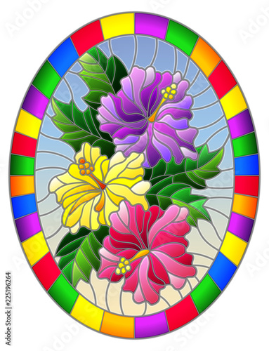 Illustration In Stained Glass Style Flower Of Hibiscus On A Blue