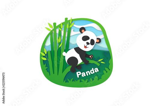 Alphabet Letter P-panda,paper cut concept vector illustration