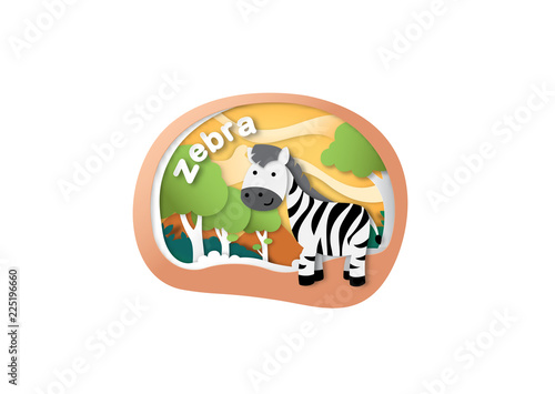 Alphabet Letter Z-zebra,paper cut concept vector illustration - 225196660