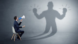 Businessman staying and offering stuffs to a shadow businessman  - 225201446