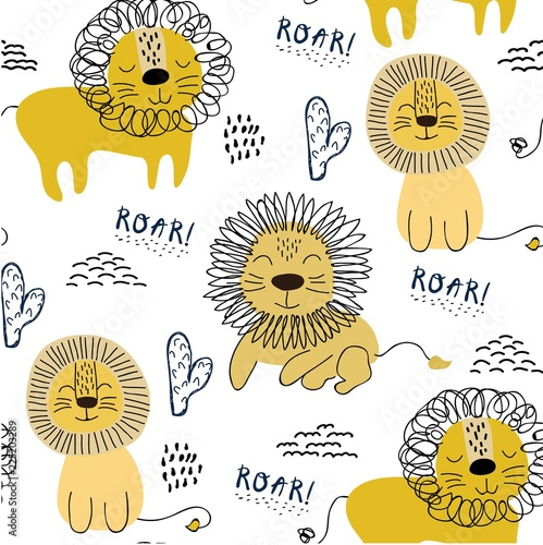obraz lub plakat Seamless pattern with lions, background for kids fabric, textile, nursery decoration,wrapping paper.Vector Illustration