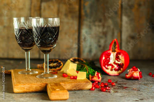 red wine in glasses, festive atmosphere. new Year. Top view. food background copy space © Alesia Berlezova