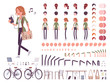 Young red-haired woman character creation set - 225204899
