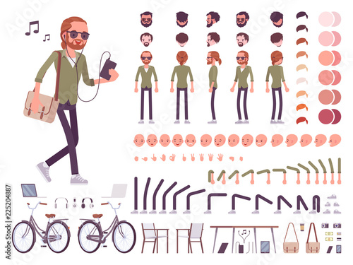 Young red-haired man character creation set