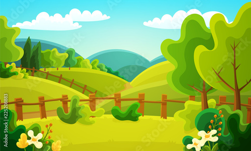 Colorful countryside landscape of fenced fields, bushes and trees. Summer season with green grass, flowers and blue sky. Vector illustration.