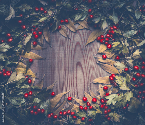 Autumn background frame with fall leaves and red berries on dark rustic background , top view