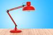 Leinwandbild Motiv Desk lamp on the wooden table, 3D rendering