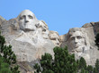 detail of the iconic carvings of presidents Washington, Jefferson, Roosevelt and Lincoln, Mount Rushmore, Black Hills, South Dakota