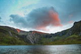 Beautiful sunset landscape image of Llyn Idwal and Devil's Kitchen in Snowdoina during Autumn evening - 225221057