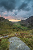 Beautiful dramatic landscape image of Nant Francon valley in Snowdonia during sunset in Autumn - 225221094