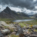Stunning landscape image of countryside around Llyn Ogwen in Snowdonia during ear;y Autumn - 225221273