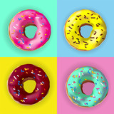 Fototapety Realistic vector Donuts in different glazes on pop art style poster. Vector donuts with sprinkles, glaze. Set of 4 realstic delicious sweet pink, chocolate, yellow, azure donuts with colorful toppings