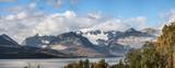 Wide range panorama view of Lyngen Alps near the Tromso with Strupbreen glacier - tourist attraction