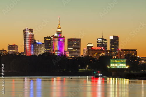 Warsaw skyline at sunset