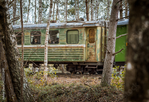 Fototapeta Narrow gauge railway leading through a forest. Narrow railroad riding through colorful birch alley in autumn colors. Authentic Soviet time train with impressive locomotive.
