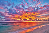 Colorful sunset over ocean on Maldives - 225249267