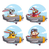 Characters flying with an airplane