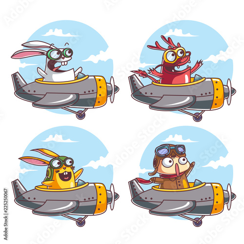 Characters flying with an airplane - 225250067