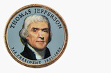 Thomas Jefferson Presidential Dollar, USA coin a portrait image of THOMAS JEFFERSON 3rd PRESIDENT 1801-1809, $1 United Staten of Amekica, Close Up UNC Uncirculated - Collection.
