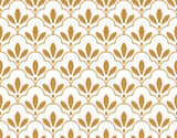 Flower geometric pattern. Seamless vector background. White and gold ornament. Ornament for fabric, wallpaper, packaging, Decorative print