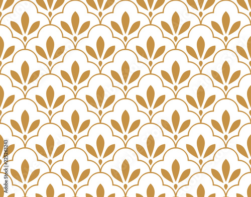 Flower geometric pattern. Seamless vector background. White and gold ornament. Ornament for fabric, wallpaper, packaging, Decorative print - 225263243