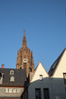view to houses of reconstructed old town in Frankfurt with dome in background