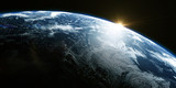 A view of the Earth from outer space/3D Rendering rotating planet Earth with a sun-baked side and a dark side with the lights of cities. Some elements of the image provided by NASA - 225273233