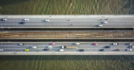 Aerial drone photograph of traffic in metropolis city.