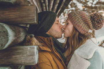 winter couple in snow landscape