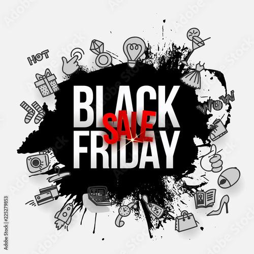 Czarny piątek sprzedaż czarny spalsh i gryzmoły