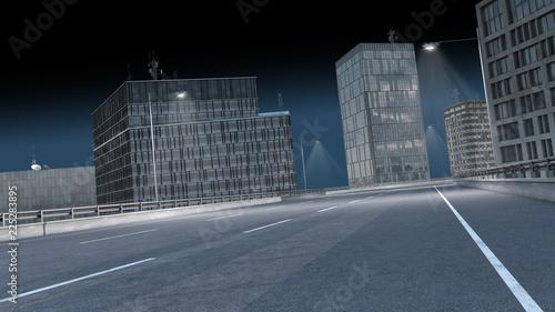 Fototapeta leere Straße in der Stadt bei Nacht