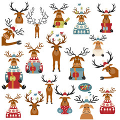Cute reindeer sticker icon set. Elements for christmas holiday greeting card, poster design