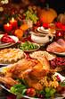 Leinwanddruck Bild - Thanksgiving turkey dinner