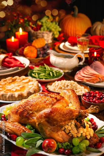 Leinwanddruck Bild Thanksgiving turkey dinner