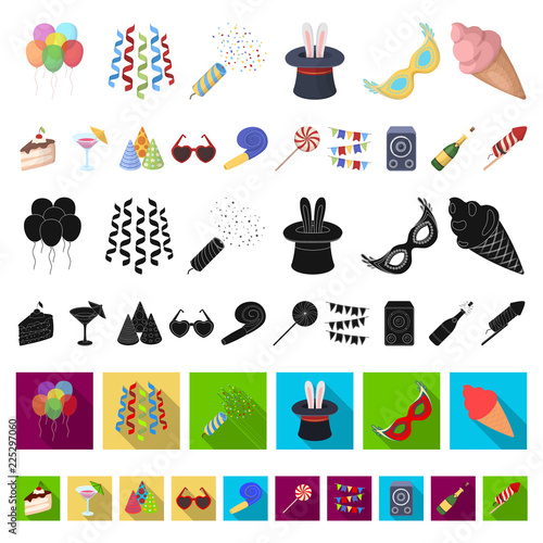 Party, entertainment cartoon icons in set collection for design. Celebration and treat vector symbol stock web illustration. © pandavector