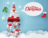 Paper art of Gift box dropping from Santa Claus, merry Christmas and happy new year celebration concept - 225300440