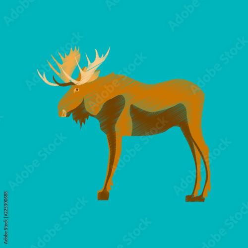 flat shading style icon Elk