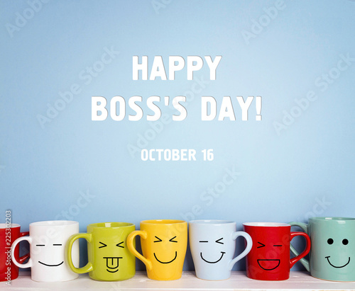 Foto Murales Boss day background with colorful mugs.