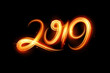 Fire motion effect to 2019 happy new year
