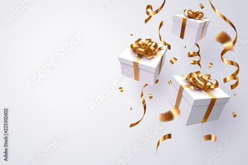 Falling gift box, Happy new year celebration. - 225302602