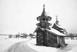 landscape in russian kizhi church winter view / winter season snowfall in landscape with church architecture - 225303204